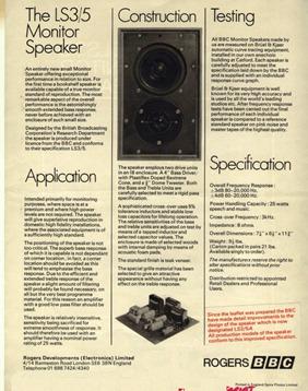 Spendor LS3/5 monitor speaker flyer